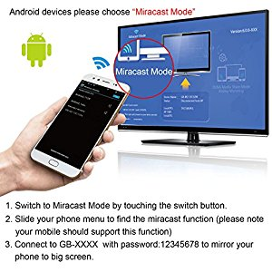 iXunGo 2 4G Miracast Video Adapter, Support 1080p Mirror Airplay/ Miracast/  DLNA from iOS/ Android/ Mac/ Windows Devices to HDTV, Monitor (Silver) -